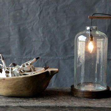 Wood & Glass Table Lamp