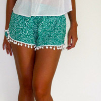 Pom Pom Shorts - Green and White Leaf Print with Large White Pom Pom's