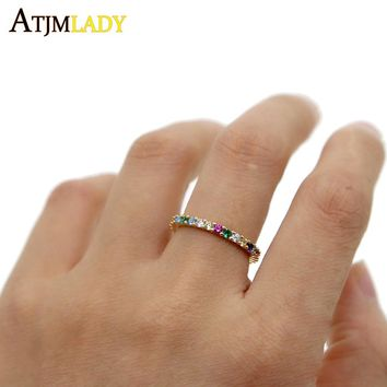 925 sterling silver multi color delicate rainbow cz cute girl women colorful beautiful full cz stack skinny ring hot fashion