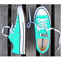 Converse New fashion canvas solid color couple shoes Mint Green