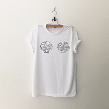 Mermaid shell boobs tshirt for women white graphic tee funny printed tops womens gift sassy cute dope swag tumblr fall winter back to school