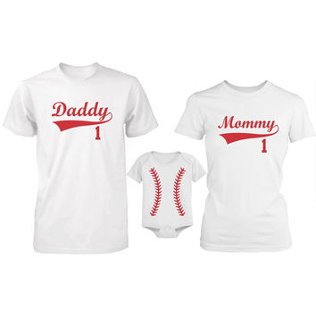 Daddy Mommy and Baby Matching Baseball Family T-Shirt / Onesuit (Sold Separately)