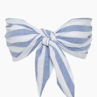Flynn Front Knot Tie Top - Blue/White Stripes