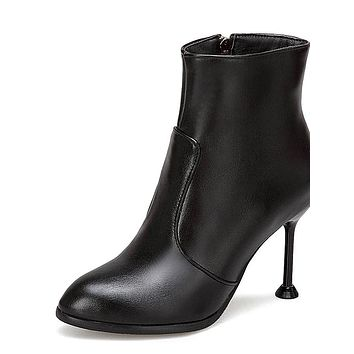 Women's Fashion Boots PU(Polyurethane) Fall & Winter Minimalism Boots Stiletto Heel Round Toe Booties / Ankle Boots White / Black / Light Red / Wedding / Party & Evening
