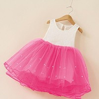 Children Baby Girl Clothing Lace Party Fancy Dress Girls Birthday Clothes Sequins Princess Ball Sleeveless Kids Dresses