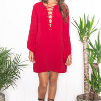 Bandage Long Sleeve Loose  Dress