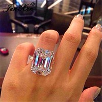 JUNXIN Female Austrian Crystal Princess Cut Stone Wedding Rings For Women 925 Silver Filled Big White Zircon Engagement Jewelry
