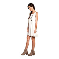 Sleeveless A-Line Dress, Cream