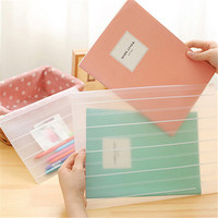 Matte Style Transparent A4 A5 File Bag Striped Document Bag A4 File Folder Pull Side Pouch Stationery Filing Production 7.127