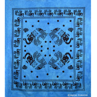 Blue Elephant Tie Dye Dorm Decor Cotton Tapestry Wall Hanging