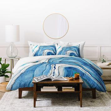 Viviana Gonzalez AGATE Inspired Watercolor Abstract 02 Duvet Cover