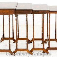 Canonbury - Important French Nest of Tables Parquetry Inlay Rosewood 1870