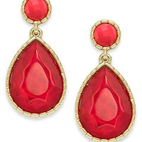 Style&co. Earrings, Gold-Tone Fuchsia Stone Drop Earrings - All Fashion Jewelry - Jewelry & Watches - Macy's