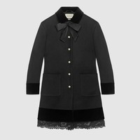 Gucci Wool coat with lace detail