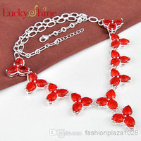 925 sterling silver women red natural stone necklace Jewelry N0476