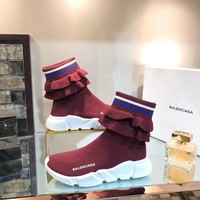 2019 New Balenciaga Speed Trainers Red Wine Sneakers - Best Online Sale