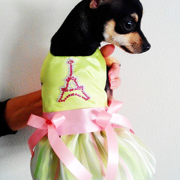 Dog Dress in Green and Pink Satin Paris Tower in Crystals Doggie Bling dog clothes puppy dresses