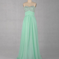 A-line Sweetheart Sleeveless Floor-length Chiffon Prom Dress With Paillette Beading