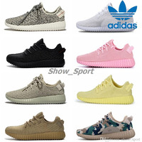 Adidas Yeezy Boost 350 Pirate Black Turtle Dove Moonrock Oxford Tan Yellow Pink White Camo Men Women Running Shoes Kanye West Yeezys Boosts