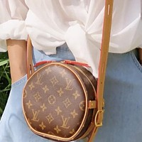LV classic old-fashioned wild canvas women's round cake bag shoulder messenger bag