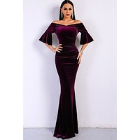 Evelyn Belluci Purple Velvet Gown