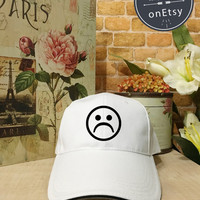 Sad Faces Hats, Sad Caps, Sadboys Baseball Hat, Baseball Cap Low Profile, Black/White Pinterest Instagram