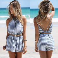 GZDL New Summer Beach Style Playsuit Slim Strip Women Loose Bodysuit Sexy Backless Casual Jumpsuit Off Shoulder Rompers CL2841