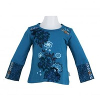 Naartjie Kids   Baby Girl Clothes   Naartjie Baby Girl Clothes   Glitter & Floral Graphic Top With Print Cuffs