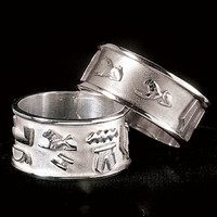 Sterling Cartouche Ring - New Age, Spiritual Gifts, Yoga, Wicca, Gothic, Reiki, Celtic, Crystal, Tarot at Pyramid Collection