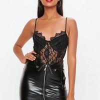 Missguided - Black Fold Down PU Mini Skirt