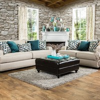 2 pc Arklow collection beige fabric upholstered Sofa and Love seat set with nail head trim accents