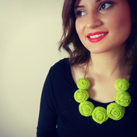 50% off cyber monday Lime Green modern statement rosette bubble necklace weddings bridemaids