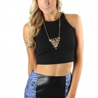 Textured Black Crop Tank