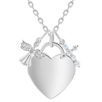 925 Sterling Silver Engravable Heart Tag CZ Angel & Cross Pendant Necklace for Girls