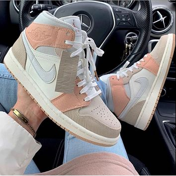 NIKE AIR JORDAN 1 MID AJ 1 classic color block high-top sneakers Shoes Pink&Khaki