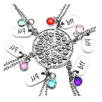 Gift Set of 6 BFF Best Friends Pizza Necklaces