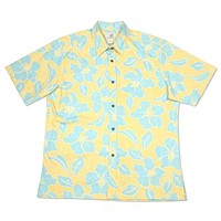 mellow yellow reverse print hawaiian cotton shirt