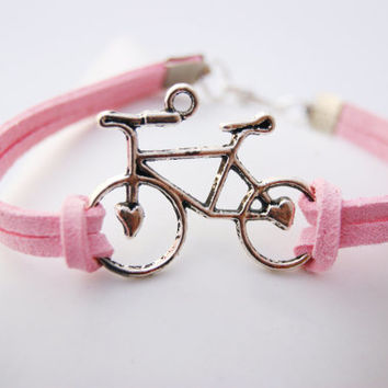 1 Strand Pink Heart Bike Bicycle Faux Leather Cord Bracelet (Adjustable Sizing)