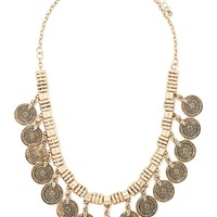 Etched Coin Charm Necklace