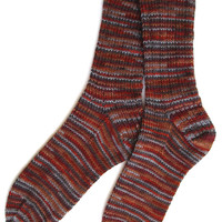 Men's Wool Handknit Socks, DK weight, ribbed, brown tan gray, striped, Father's Day gift