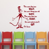 "Dr Seuss Wall Decal- Dr Seuss Quotes The More That You Read- Dr Seuss Nursery Kids Wall Art Vinyl Lettering- Dr Seuss Classroom Decor |Q073| by FabWallDecals (14"" Tall x 19"" Wide)"