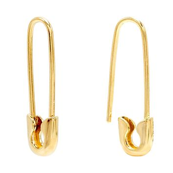 Solid Safety Pin Earring 14K