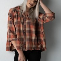 Rust and Brown Plaid Flannel Top
