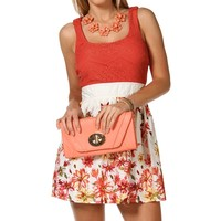 Sale-coral Crochet Floral Dress