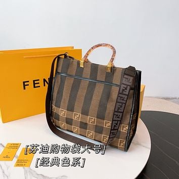 Fendi 2021 Women Leather Shoulder Bags Embroidery Satchel Tote