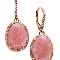 14k Rose Gold Over Sterling Silver Earrings, Pink Opal (9-1/5 ct. t.w.) and Diamond (1/6 ct. t.w.) Earrings - Earrings - Jewelry & Watches - Macy's