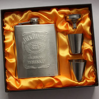 Jack Daniels Hip Flask 4-piece SET, 7 Oz Portable Stainless Steel Flagon in a Gift Box