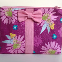 Tinkerbell Makeup Bag / Dinsey Fairy Cosmetics Pouch / Purple & Pink / Cosmetic Clutch / Glitter