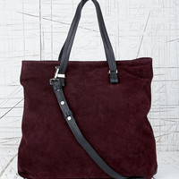 Deena & Ozzy Suede Shoulder Bag in Burgundy - Urban Outfitters