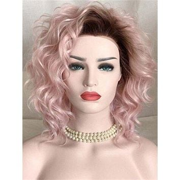 Strawberry Dream Pink Curly Bob Synthetic Lace Front Wig